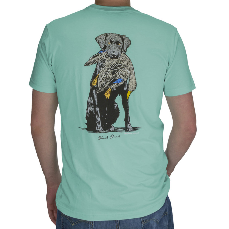 Banded Black Duck Short Sleeve T-Shirt in Seafoam Color