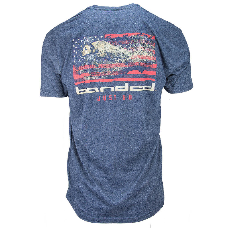 Banded American Drive Short Sleeve T-Shirt in Midnight Navy Color