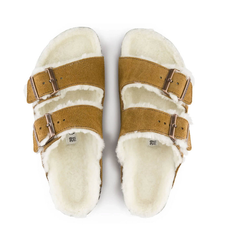 Birkenstock Arizona Shearling in Mink Natural Color