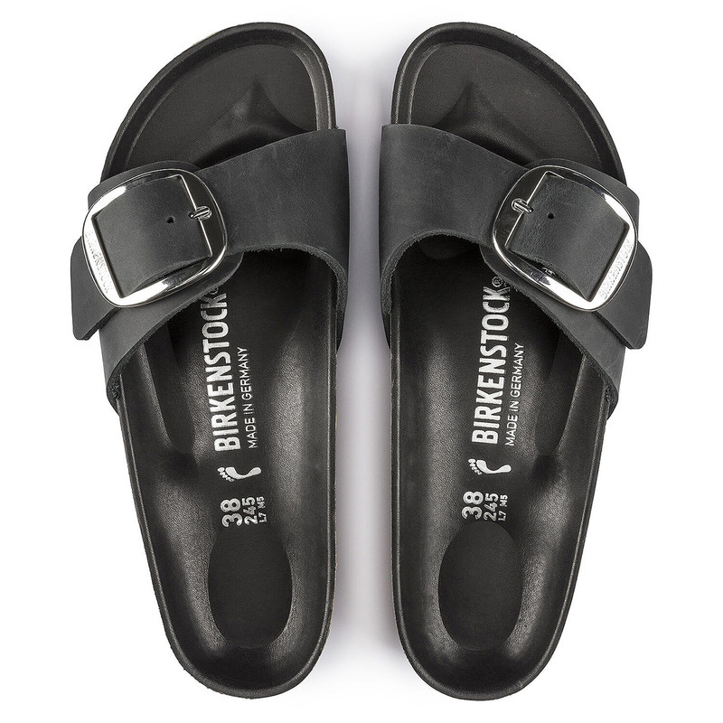 Birkenstock Madrid Sandal Oiled Leather in Black Color