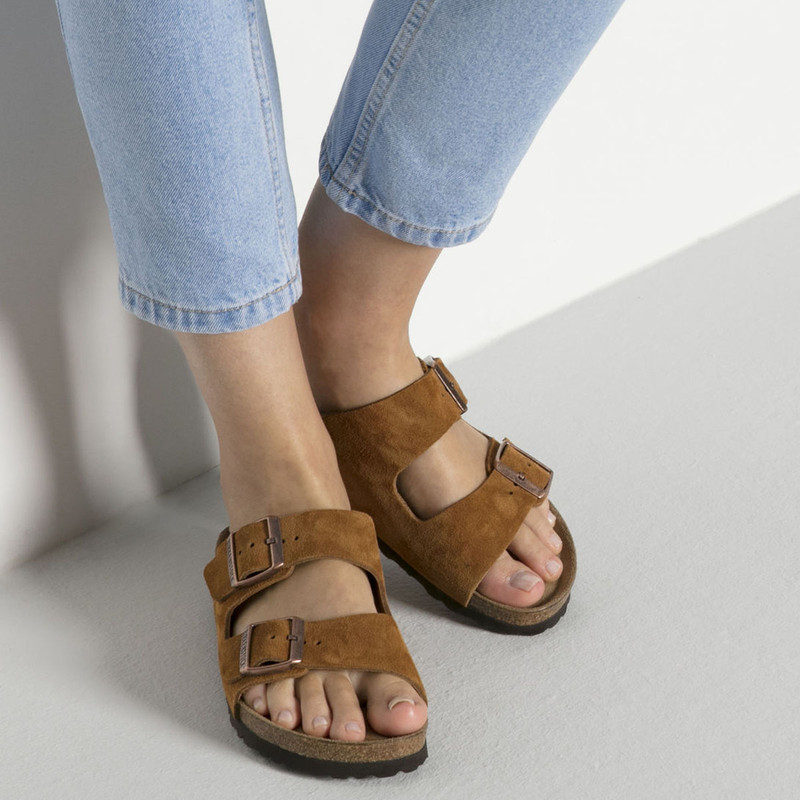 Birkenstock Arizona Suede Softbed Sandal in Mink Color