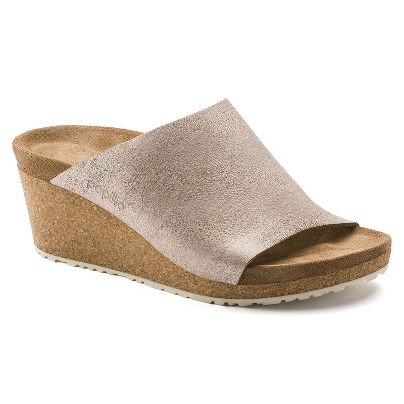 Birkenstock Namica Leather Wedge in Rose Gold