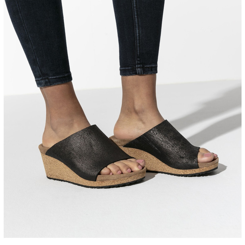 Birkenstock Namica Leather Wedge in Washed Metallic Antique Black Color