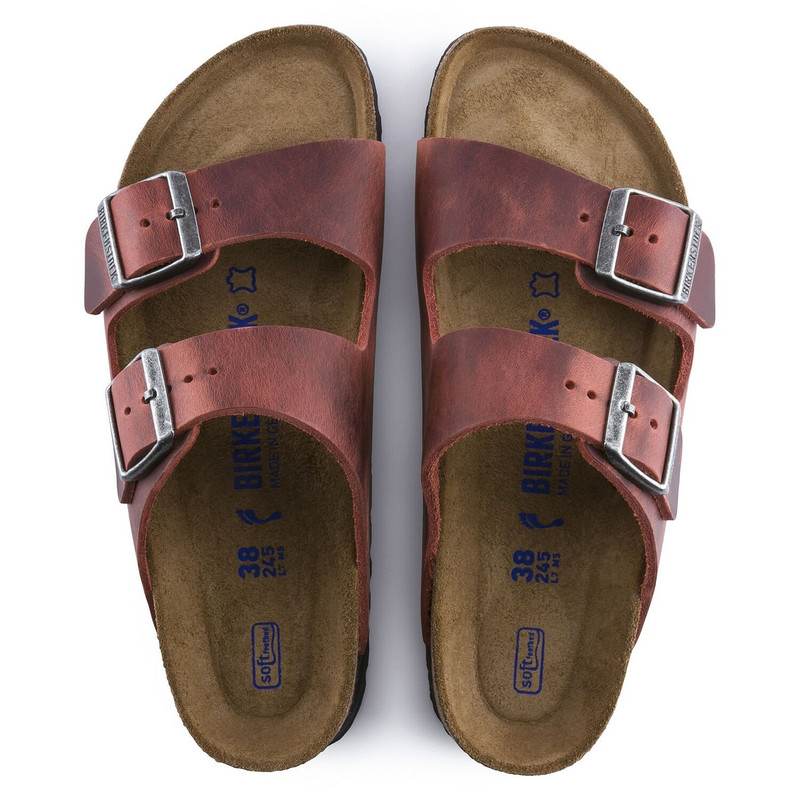 Birkenstock Arizona Soft Footbed Oiled Leather Sandal in Earth Red Color