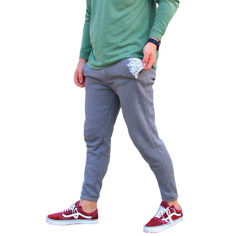 Burlebo Fleece Jogger with Deer Pocketing in Light Grey Color