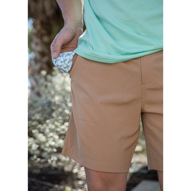 Burlebo Performance Shorts w/Flying Duck Pockets in Desert Tan Color