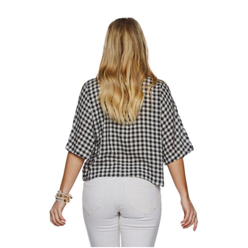Buddy Love Marco Black Gingham Tie Top in Black White Color