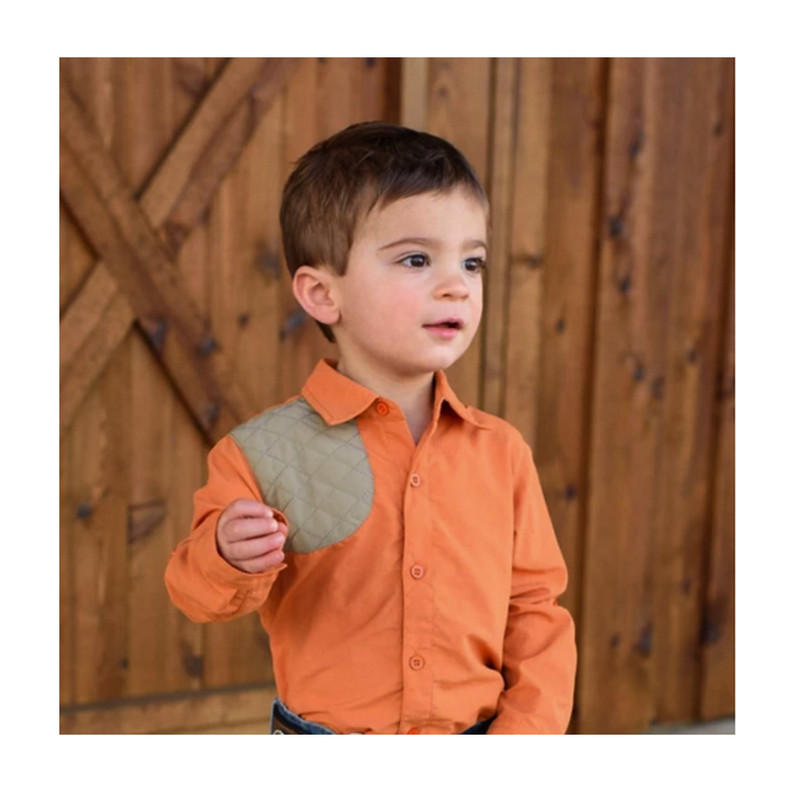 Blue Quail Company Ranch Collection Shooting Button Down in Pumpkin Color