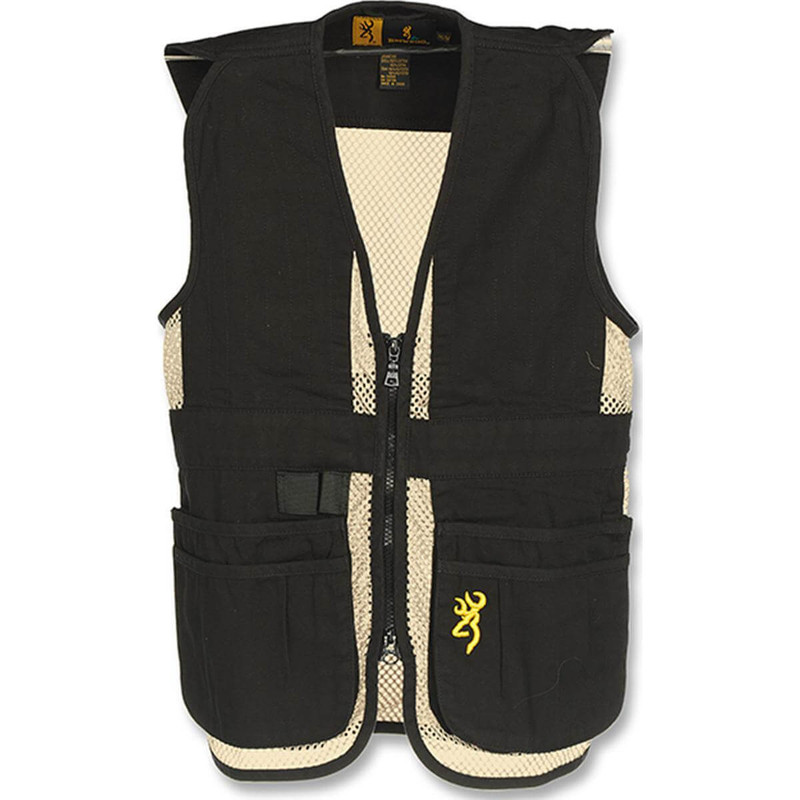 Browning Junior Trapper Creek Mesh Shooting Vest in Black Tan Color