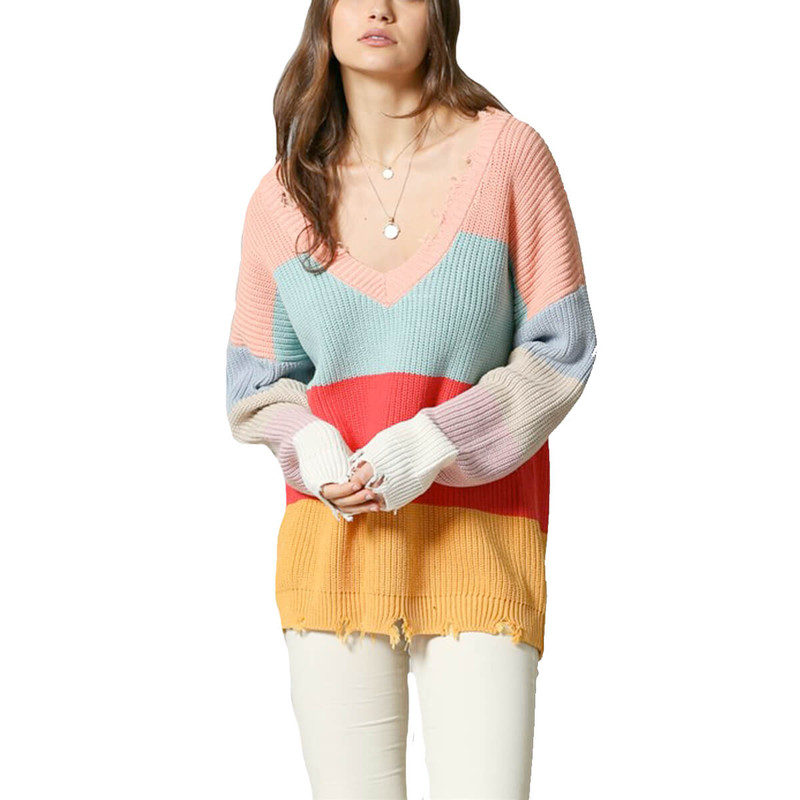 By Together V-Neck Long Sleeve Pullover in Multi Color