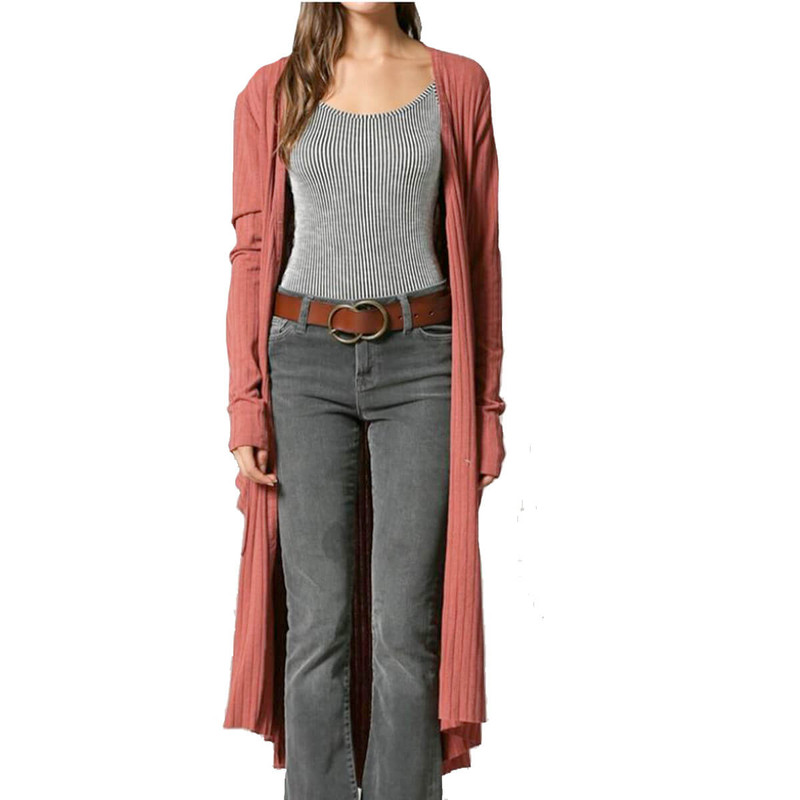By Together Just Another Day Maxi Duster in Rust Color
