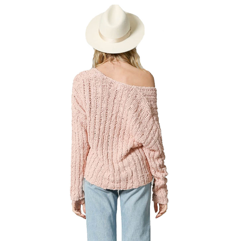 By Together V-Neck Pullover Sweater in Pink Color