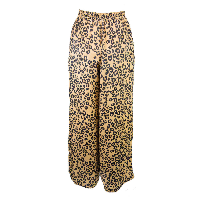 High Waisted Leopard Palazo Pants in Brown Color