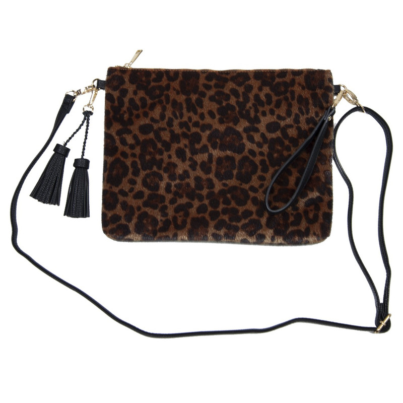 Caroline Hill Elizabeth Oversized Clutch/Crossbody in Leopard Color