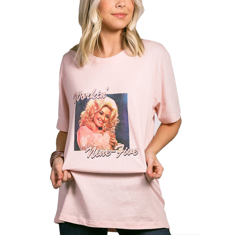 Charlie Southern Nine To Five Short Sleeve Tee in Baby Pink Color