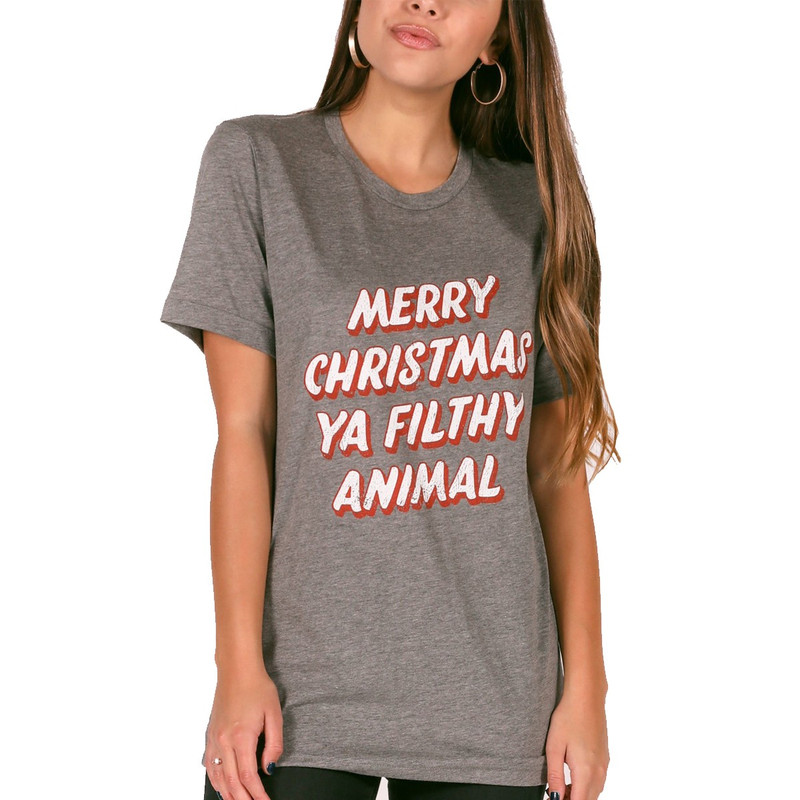 Charlie Southern 'Merry Christmas Ya Filthy Animal' Tee in Grey Color