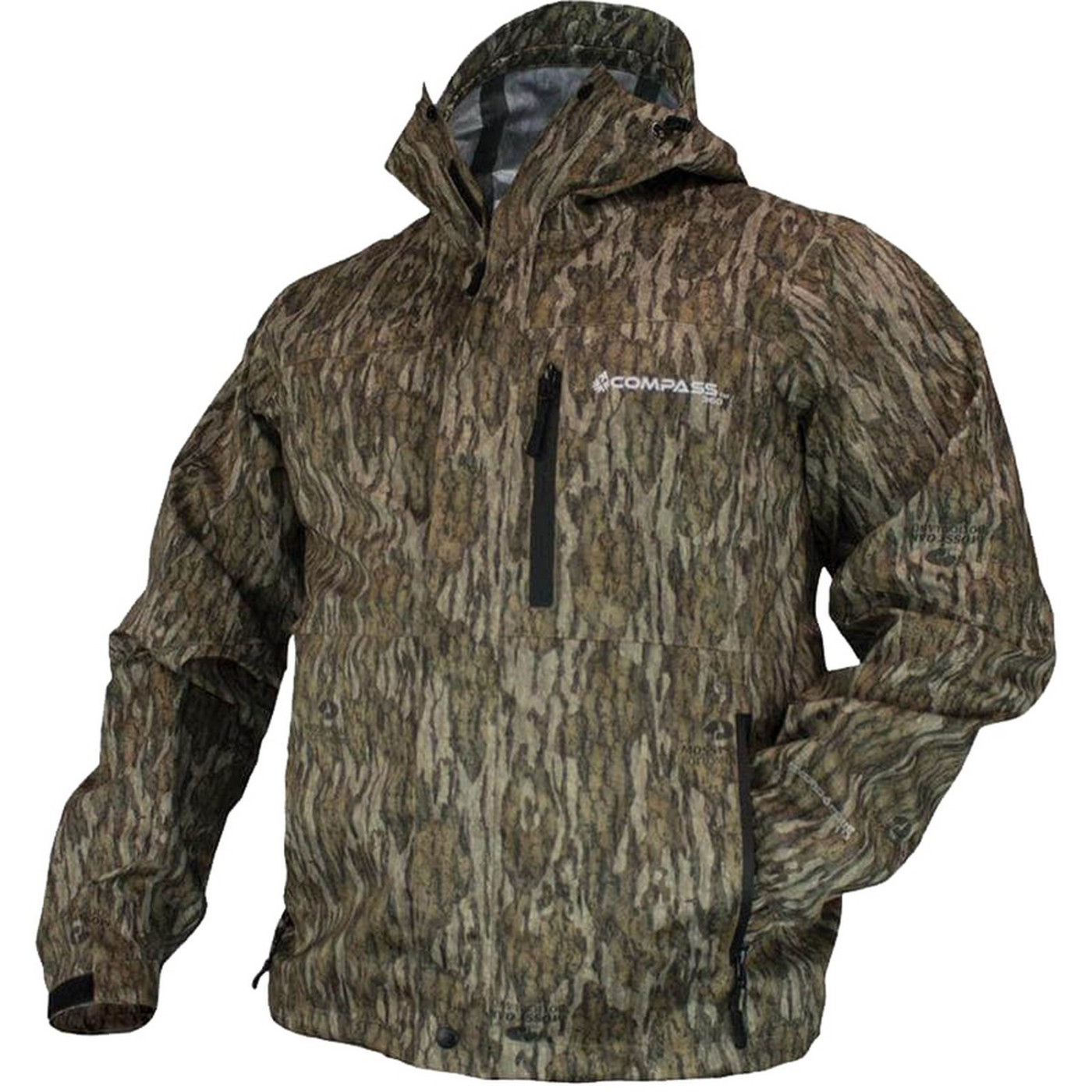 Compass 360 HydroTek Rain Jacket in Mossy Oak Bottomland Color