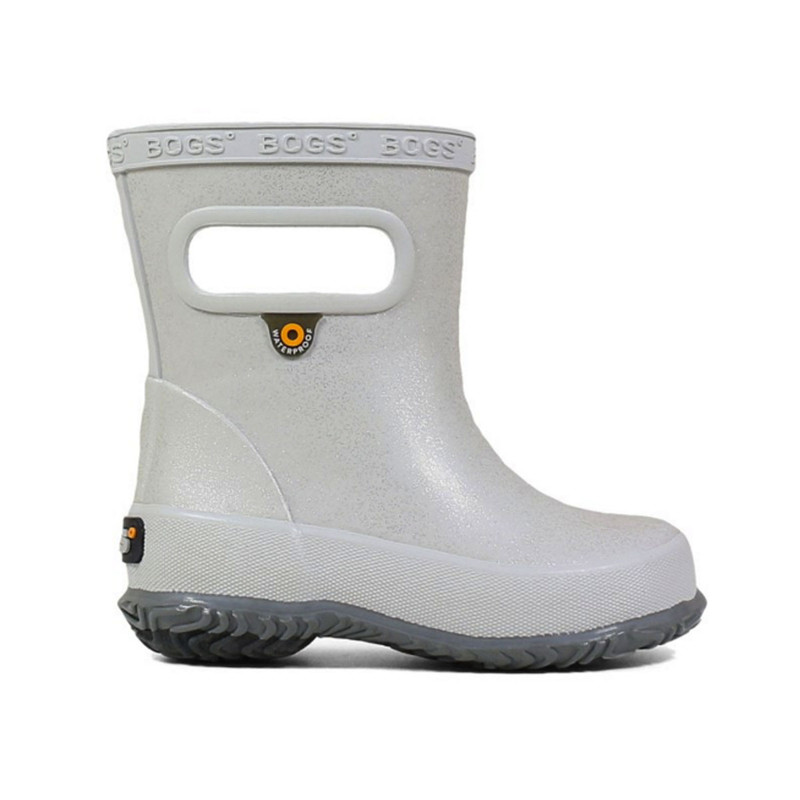 Bogs Skipper Glitter Kids' Rain Boots in Silver Color