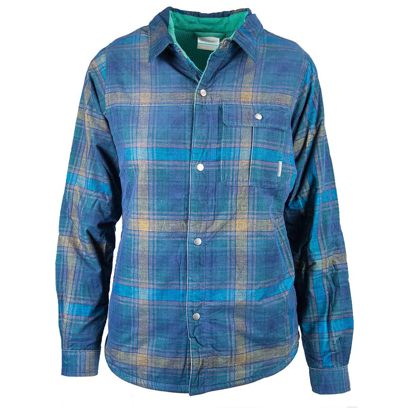 Columbia Boy's Windward Shirt Jacket in Pine Green Plaid Color