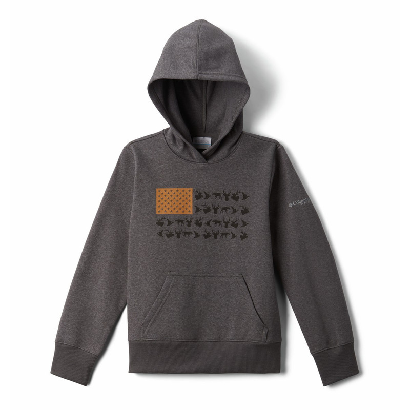 Columbia Boy's PFG Triangle Hoodie in Charcoal Heather Color