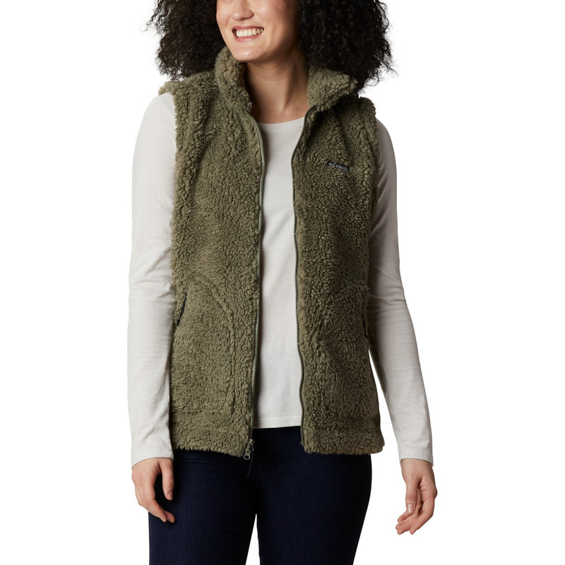 Columbia Women's Winter Pass Sherpa Vest in Stone Green Color
