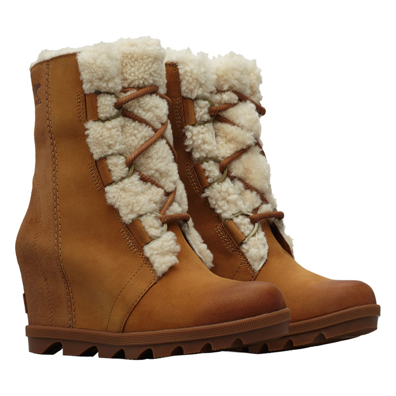 Sorel Women's Insulated Joan of Arctic Wedge II Shearling in Camel Brown Color