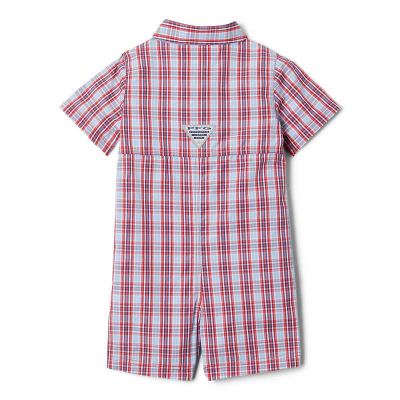 Columbia Infant Bonehead Romper in Red Spark Gingham Color