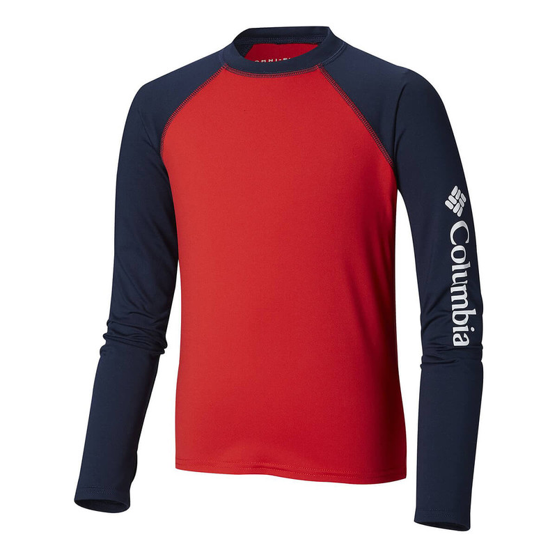 Columbia Youth Sandy Shores LS Sunguard Top in Collegiate Navy Mountain Red Color
