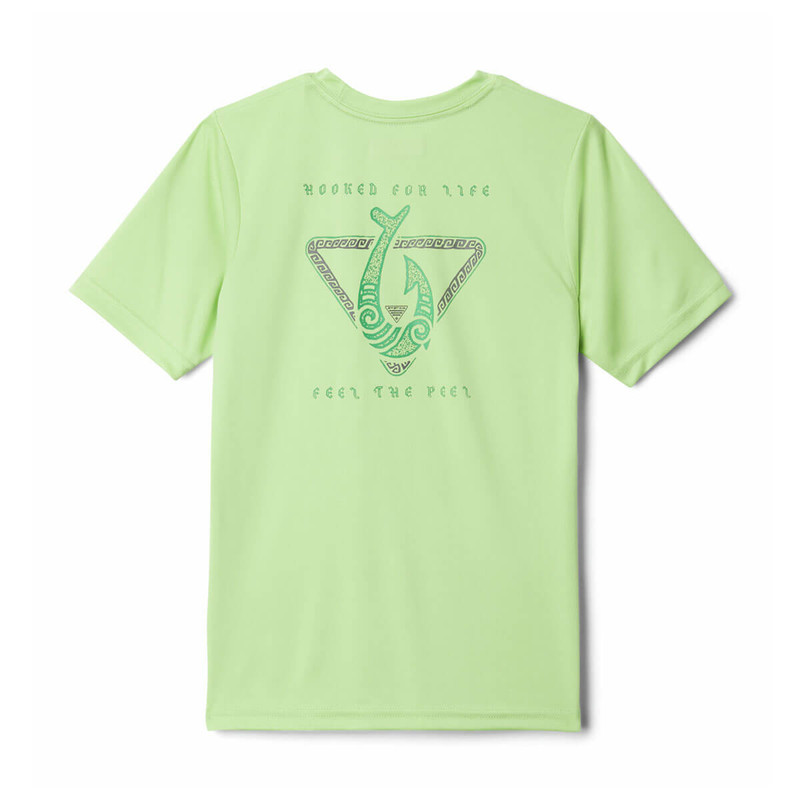 Columbia Boy's PFG Stamp Short Sleeve Shirt in Jade Lime Color