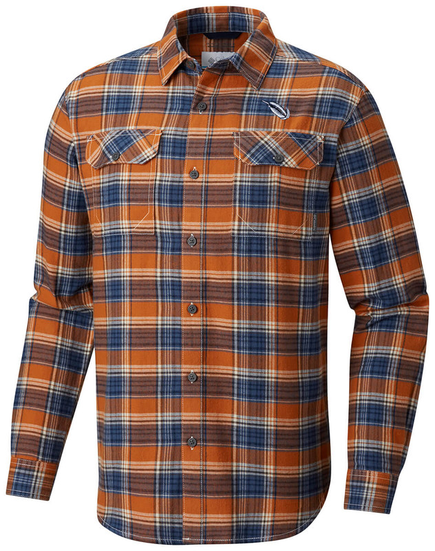 Columbia Flare Gun Flannel III Long Sleeve Shirt in Bright Copper Small Plaid Color