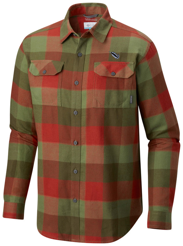 Columbia Flare Gun Flannel III Long Sleeve Shirt in Moss Stone Large Plaid