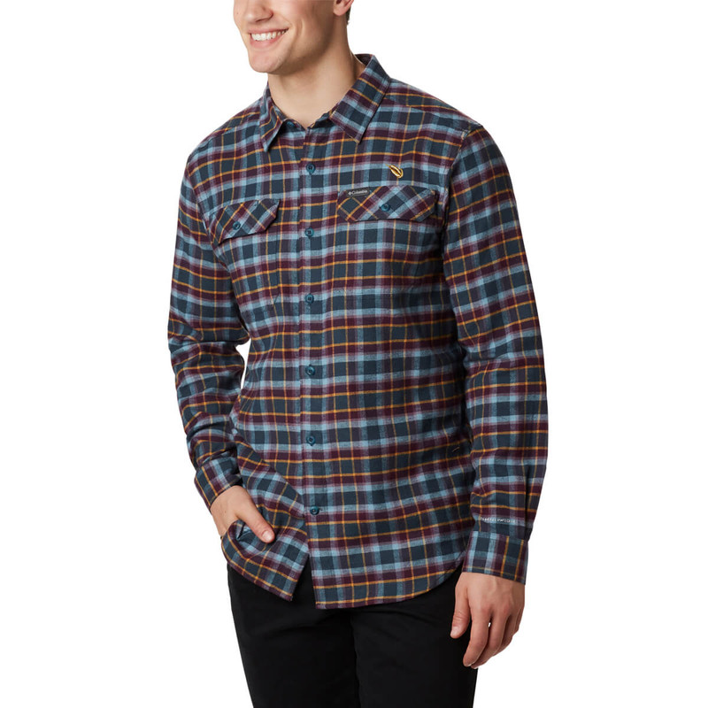 Columbia Men's Flare Gun Stretch Flannel Shirt in Black Cherry Grid Color
