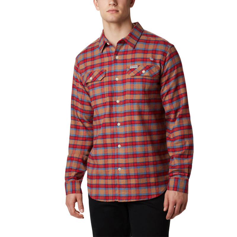 Columbia Men's Flare Gun Stretch Flannel Shirt in Camel Brown Grid Color