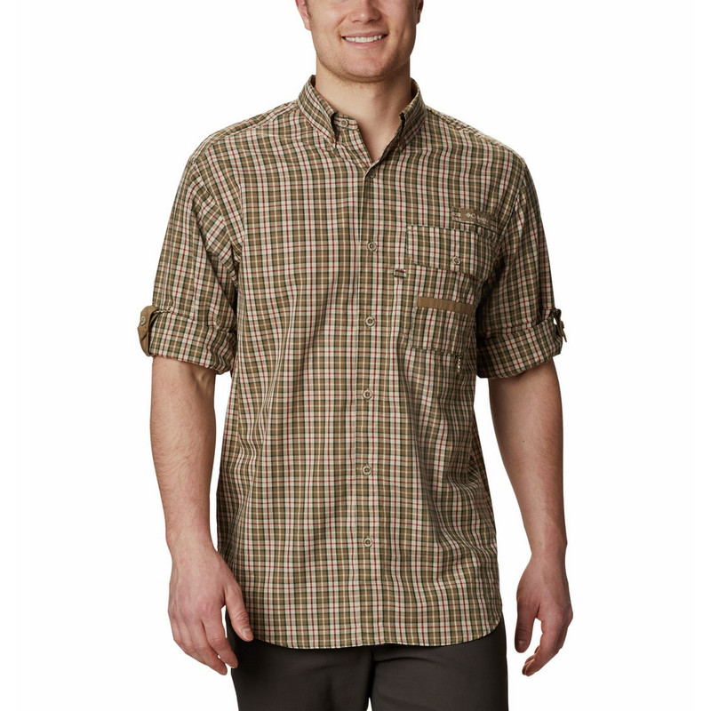 Columbia Super Sharptail Long Sleeve Shirt in Flax Gingham Color