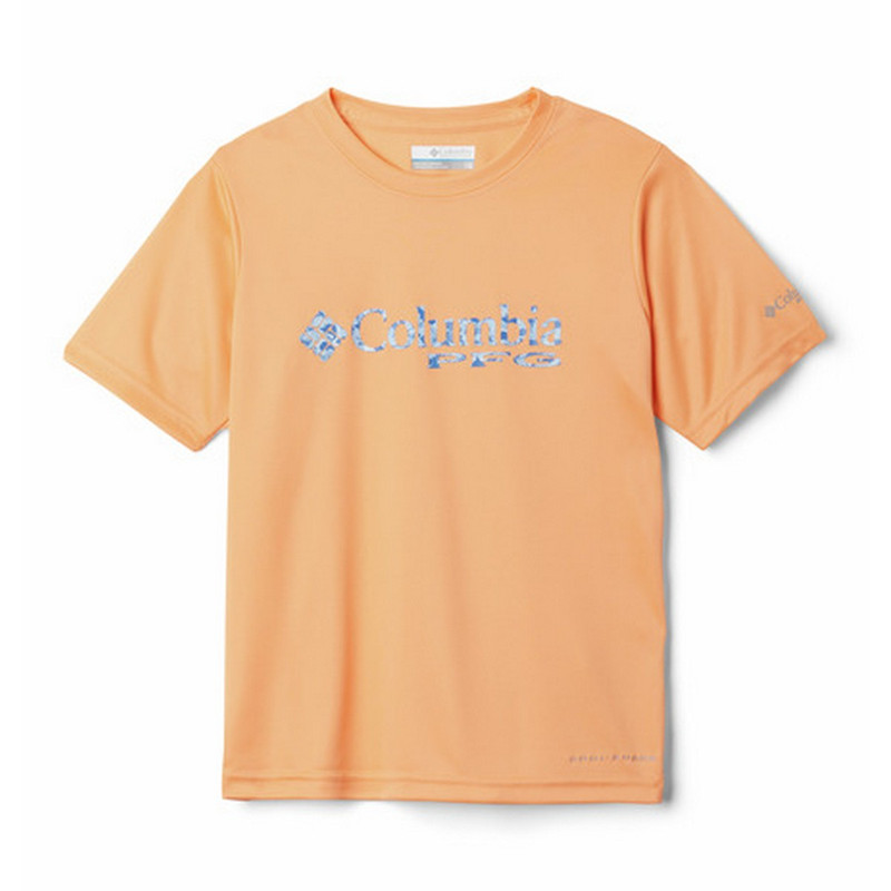 Columbia Boy's Printed Logo Graphic Tee in Bright Nectar Color