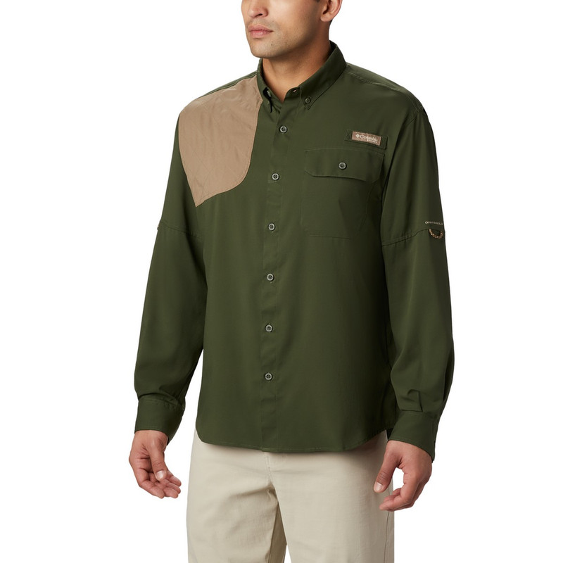 Columbia Men's Blood And Guts Shooting Shirt in Surplus Green Color