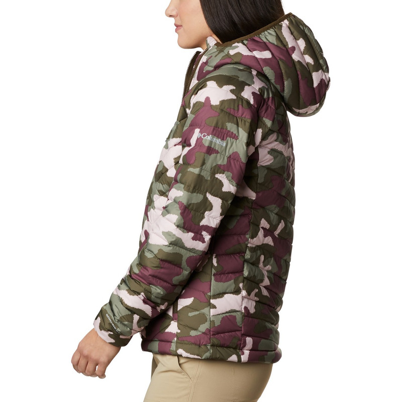 Columbia Women's Powder Lite Hooded Jacket in Olive Green Traditional Camo Print Color