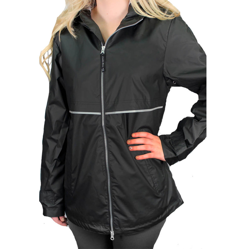 Charles River Womens New Englander Rain Jacket in Black Color