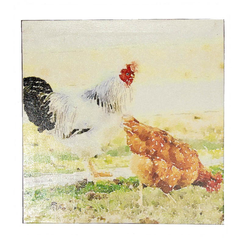 Creative Co-Op Square Canvas Wall Decor with Chickens