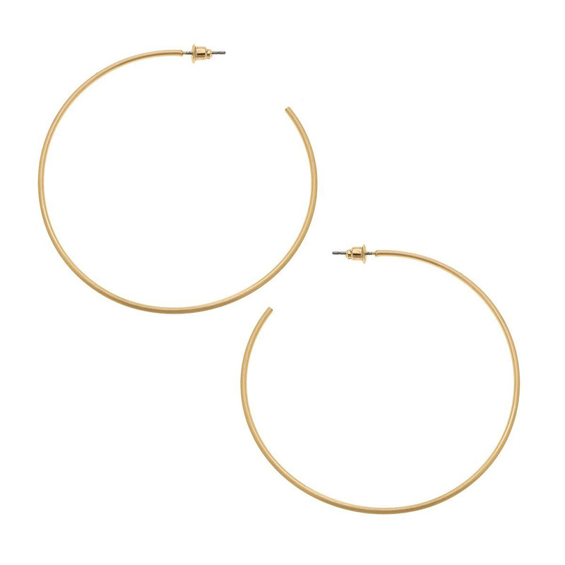 Canvas Jewelry Gwen Hoop Earrings Satin in Gold Color