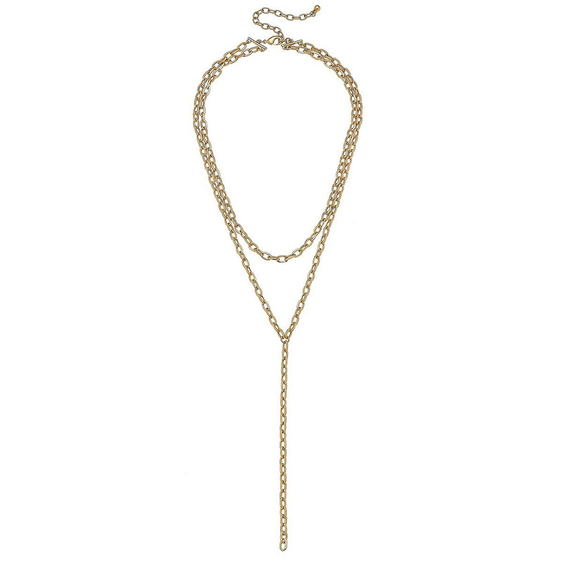 Canvas Jewelry Pilar Layered Y Chain Necklace Worn in Gold