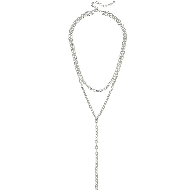 Canvas Jewelry Pilar Layered Y Chain Necklace Worn in Silver