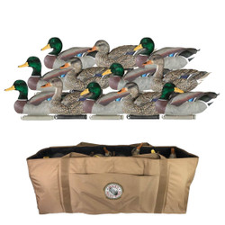 Dakota X-treme Flocked Head Mallard Duck Decoys 12 Pack With Deluxe 12 Slot Bag