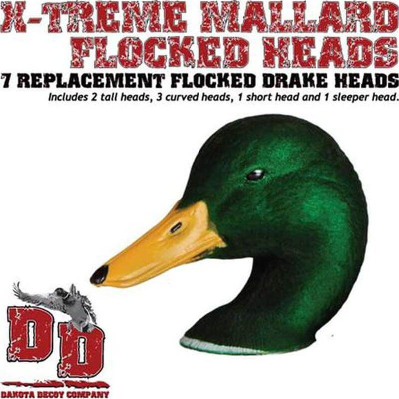Dakota Decoys X-Treme Mallard Flocked Head Replacements 7 Pack