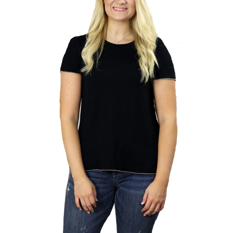 Boat Neck T-Shirt w/ Beading Detail in Black Color