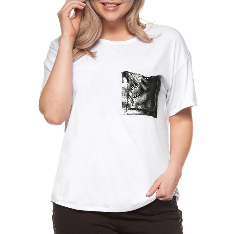 T-Shirt with Contrasting Pocket Detail in White Color