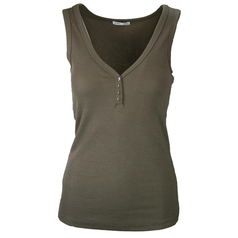 Dex Button Detail Muscle Tank in Iron Army Color