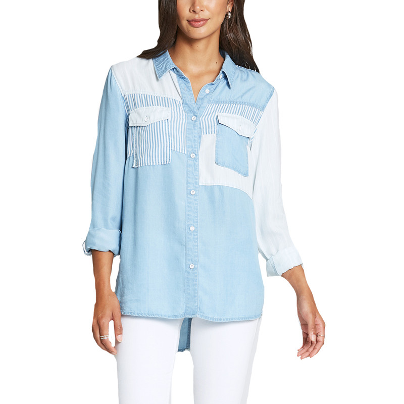 Dear John Cindy Patch Work Button Down in Denim Color