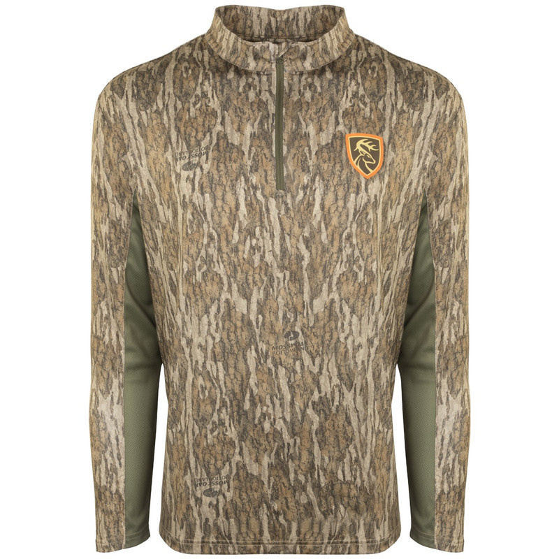 Drake Non-Typical Scent Control Performance 1/4 Zip With Agion in Mossy Oak Bottomland Color