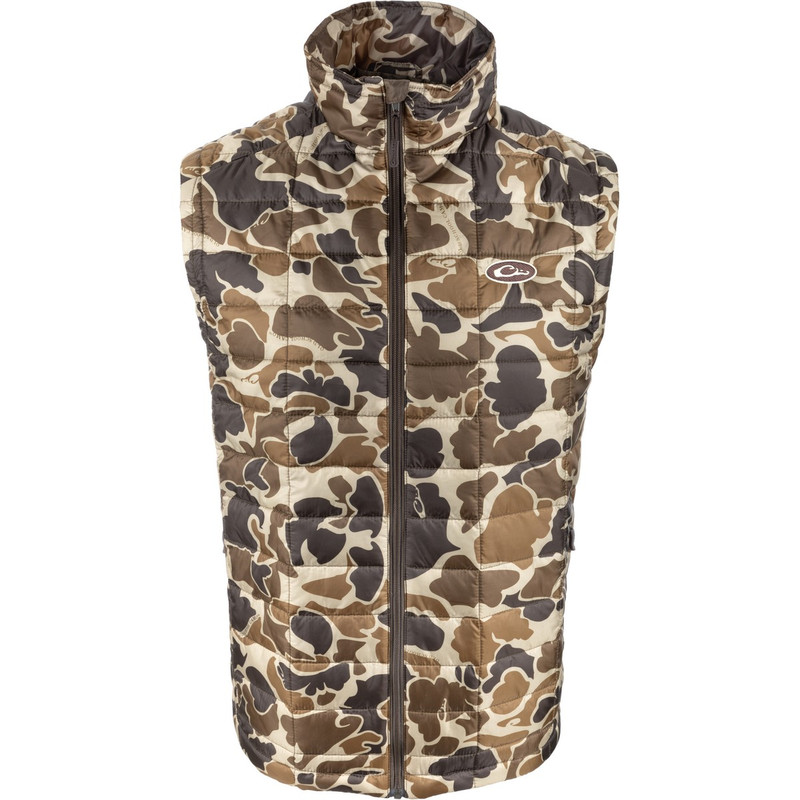 Drake MST Synthetic Down Packable Vest in Old School Camo Color
